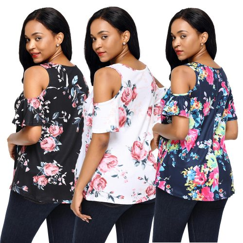 Floral Print Background Womens Top Blouse