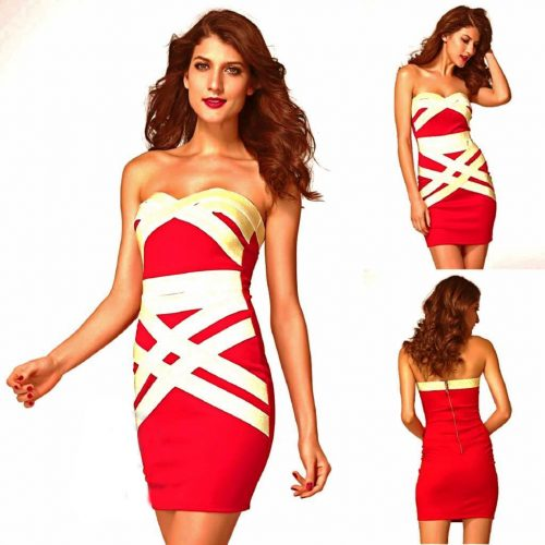 Strapless Bandeau Gold Lining Cross Bandage Style Mini Dress