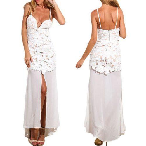 Flower Applique Sleeveless Slit Maxi Long Dress