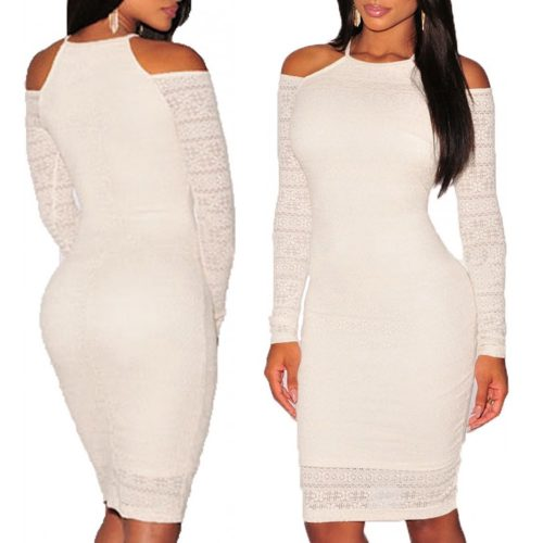 White Lace Cut Out Shoulder Bodycon Long Sleeve Dress