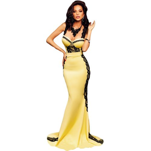 Curve Hugging Fit Yellow & Black Lace Sleeveless Long Mermaid