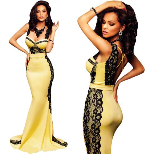 Curve Hugging Fit Yellow and Black Lace Sleeveless Long Mermaid Maxi Dress