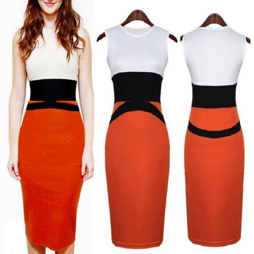 Colour Block Sleeveless Curve Hugging Fit Pencil Midi Dress