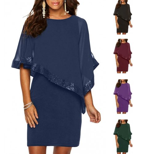 Sequin Mesh PonchoBatwing Sleeves CasualParty Dress
