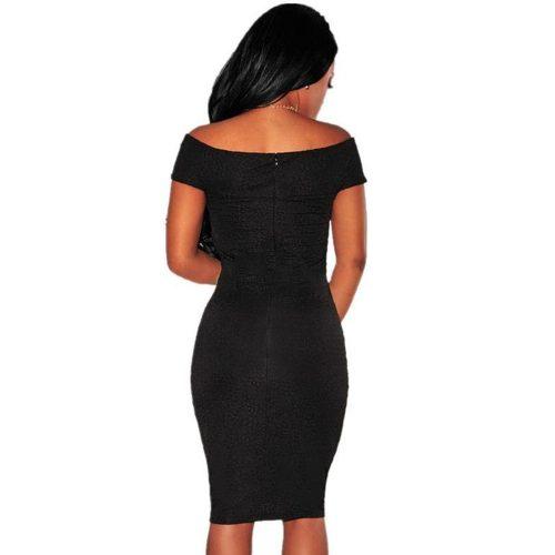 Knot V Neckline Off Shoulder Little Black Dress