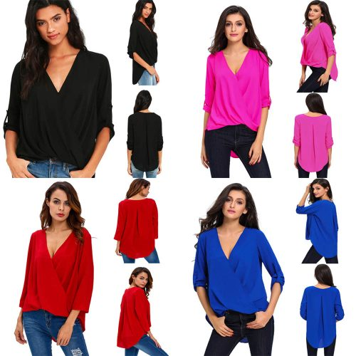 Women's Chiffon Blouse V Neck Ruffle Loose Fit 3/4 Sleeve Tops