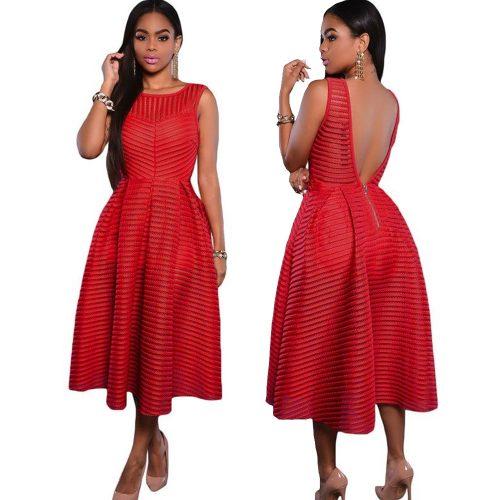 Sleeveless Stripe Swing Pleated Skater Summer Dress