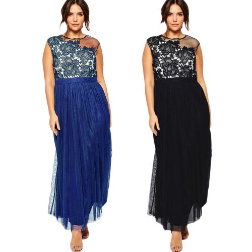 Floral Lace Sleeveless Round Neck Chiffon Gown Plus Size Maxi Long Dress