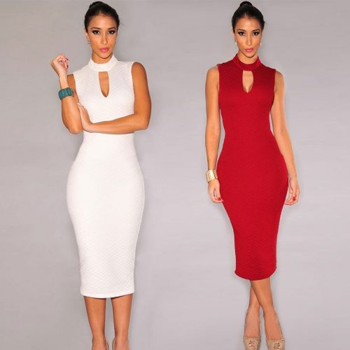 Keyhole Halter Neckline Sleeveless Midi Pencil Formal Dress