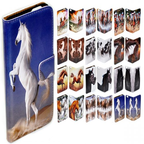 Horse Theme Print Flip Case Mobile Phone Cover