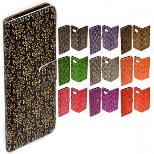 Gold Damask Pattern Flip Case Mobile Phone Cover