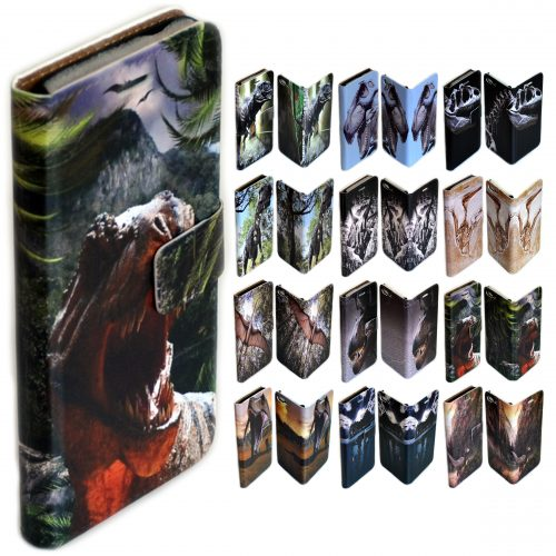 Dinosaur Theme Print Flip Case Wallet Mobile Phone Cover