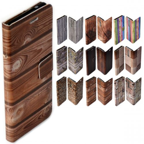 Wood Timber Theme Print Pattern Flip Case Mobile Phone Cover