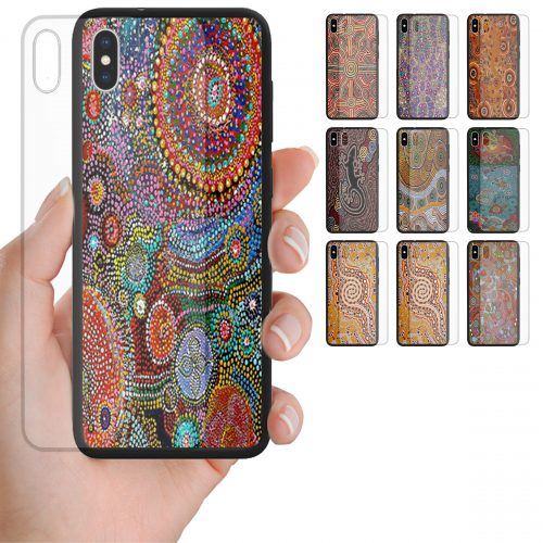 Aboriginal Art Print Theme Tempered Glass Back Case Mobile Phone Cover