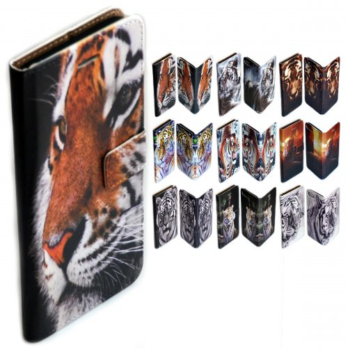 Tiger Print Theme Flip Wallet Case Mobile Phone Cover
