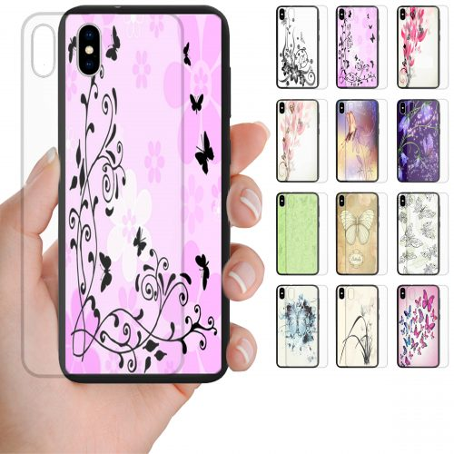 Butterfly Print Theme Tempered Glass Back Case Phone Cover