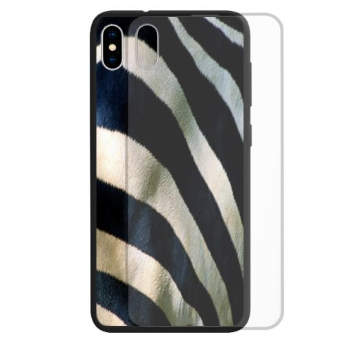 Zebra Fur Print Tempered Glass Back Case Phone Cover