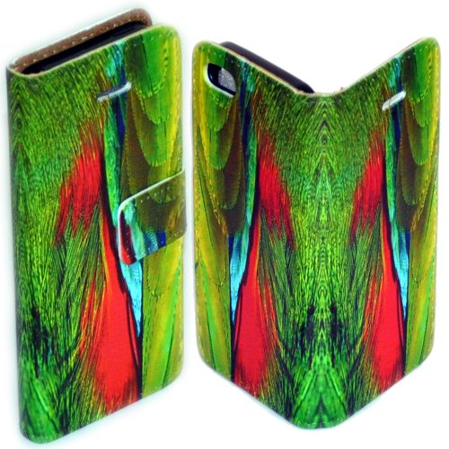 Colourful Bird Feather Print Pattern Flip Case Mobile Phone Cover