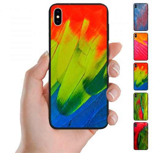 Colourful Bird Feather Print Pattern Phone Case for iPhone, Samsung, OPPO, and Huawei