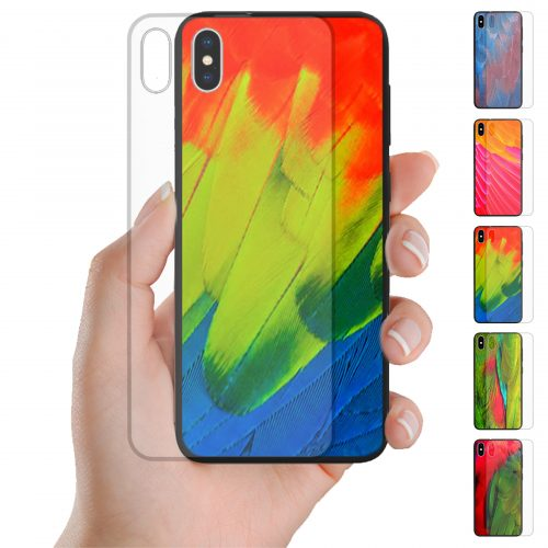 Tempered Glass Phone Case for iPhone, Samsung, Huawei and OPPO featuring Colourful Bird Feather Print Pattern