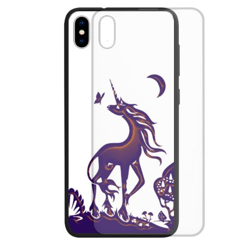 Unicorn Fairy Tale Theme Print Tempered Glass Back Case Phone Cover