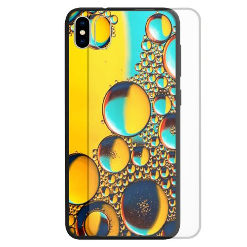 Water Bubble Print Pattern Tempered Glass Back Case Mobile Phone Cover
