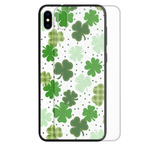Tempered Glass Phone Case featuring Shamrock Clover Theme Print