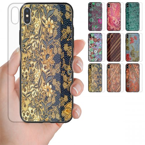 Batik Theme Print Pattern Tempered Glass Mobile Phone Case