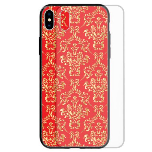 Gold Damask Print Pattern Tempered Glass Mobile Phone Case