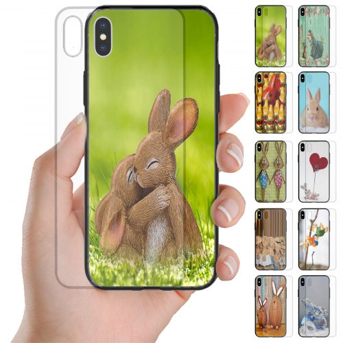 Easter Bunny Theme Tempered Glass Phone Case