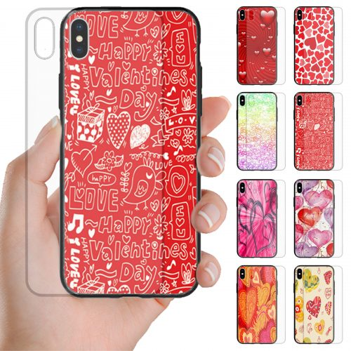 Valentine's Day Love Theme Print Tempered Glass Phone Case