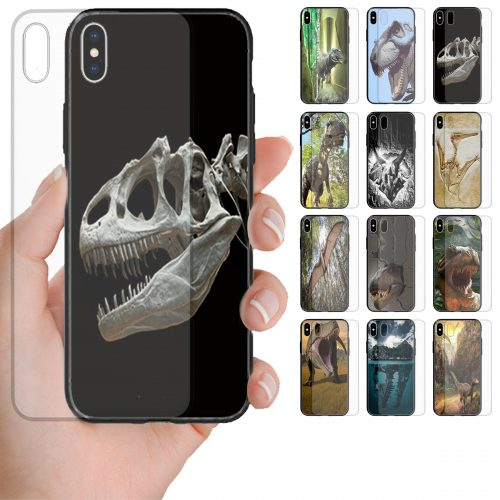 Dinosaur Theme Print Tempered Glass Phone Case