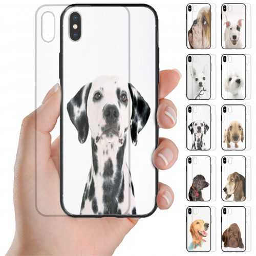 Dog Theme Print Tempered Glass Phone Case