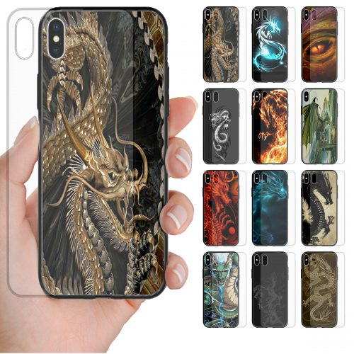 Dragon Theme Print Tempered Glass Phone Case