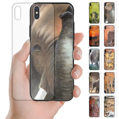 Elephant Theme Tempered Glass Back Case Mobile Phone Cover