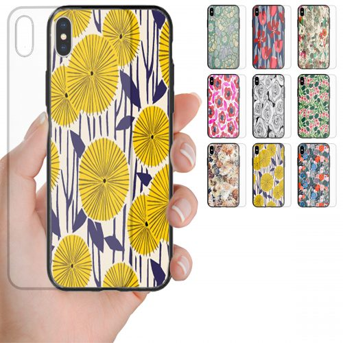 Floral Pattern Tempered Glass Back Case Mobile Phone Cover