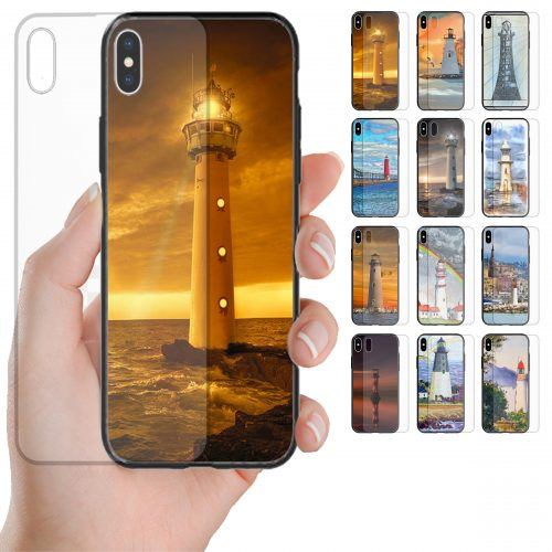 Lighthouse Tower Tempered Glass Back Case Mobile Phone Cover