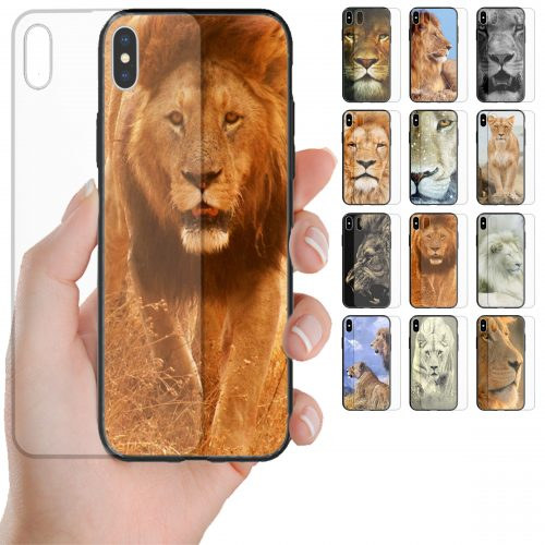 Lion Theme Tempered Glass Back Case Mobile Phone Cover