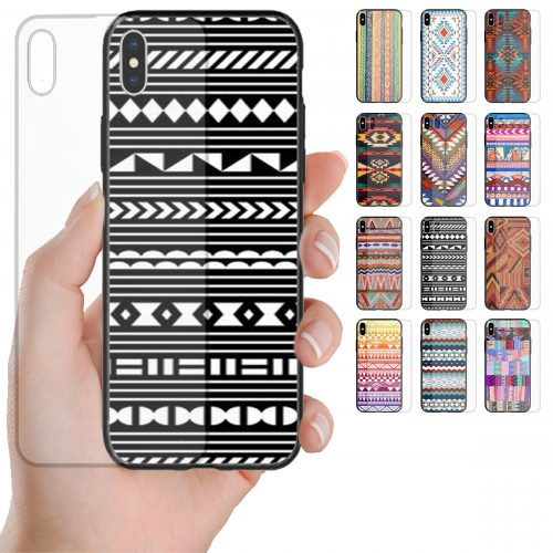 Navajo Theme Pattern Tempered Glass Printed Back Case Mobile Phone Cover