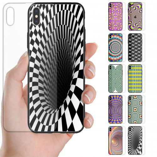 Optical Illusion Theme Printed Back Case Tempered Glass Mobile Phone Cover