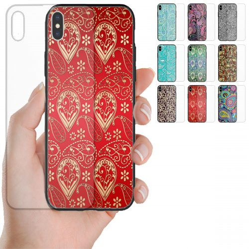 Paisley Print Pattern Tempered Glass Mobile Phone Case