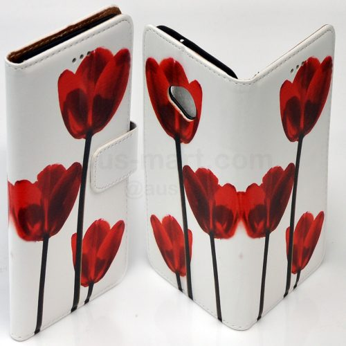 Flower Theme Print Wallet Flip Mobile Phone Cover