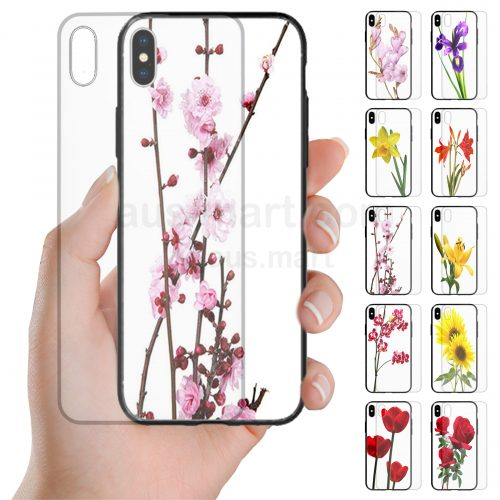 Flower Theme Print Tempered Glass Back Case Mobile Phone Cover