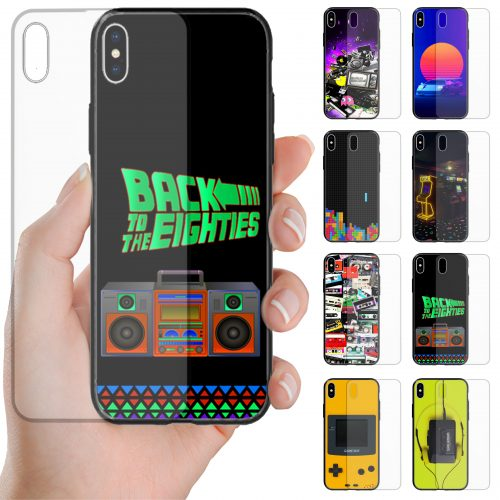 1980s Retro Vintage Trend Theme Print Tempered Glass Back Case Mobile Phone Cover