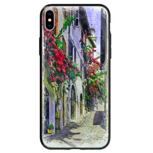 Mobile Phone Cover Back Case featuring Riva del Garda Italy Streetscape Illustration