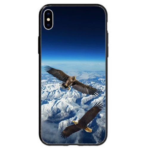 Mobile Phone Cover Back Case featuring Flying Eagles Aerial View of White Snowy Mountains Landscape