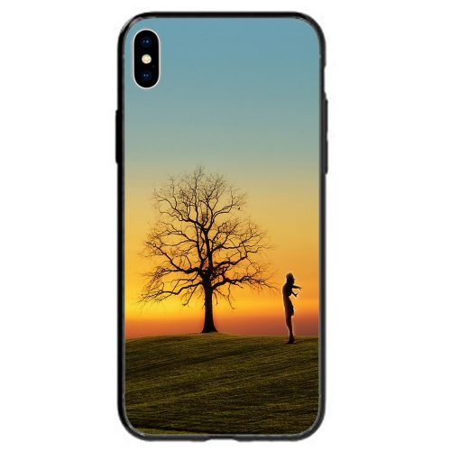Mobile Phone Cover Back Case featuring Sunset Silhouette of Girl Stretching on the Field