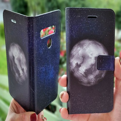 Flip Wallet Mobile Phone Cover featuring Full Moon on Starry Night Sky Galaxy