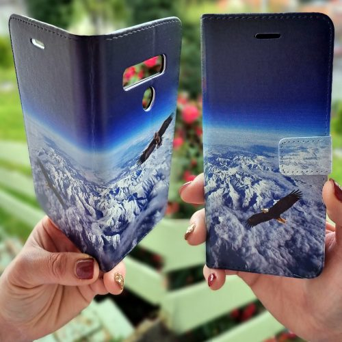 Flip Wallet Mobile Phone Cover featuring Flying Eagles Aerial View of White Snowy Mountains Landscape