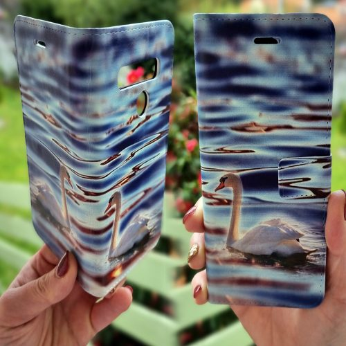 Flip Wallet Mobile Phone Cover featuring White Swan Floating on Still Water